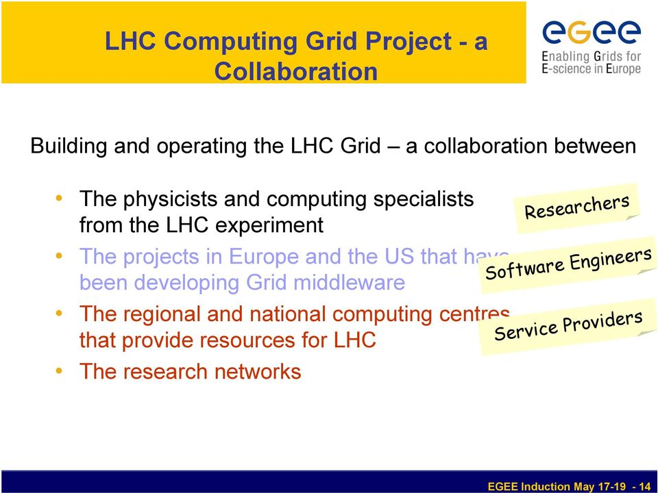 have been developing Grid middleware The regional and national computing centres that provide resources