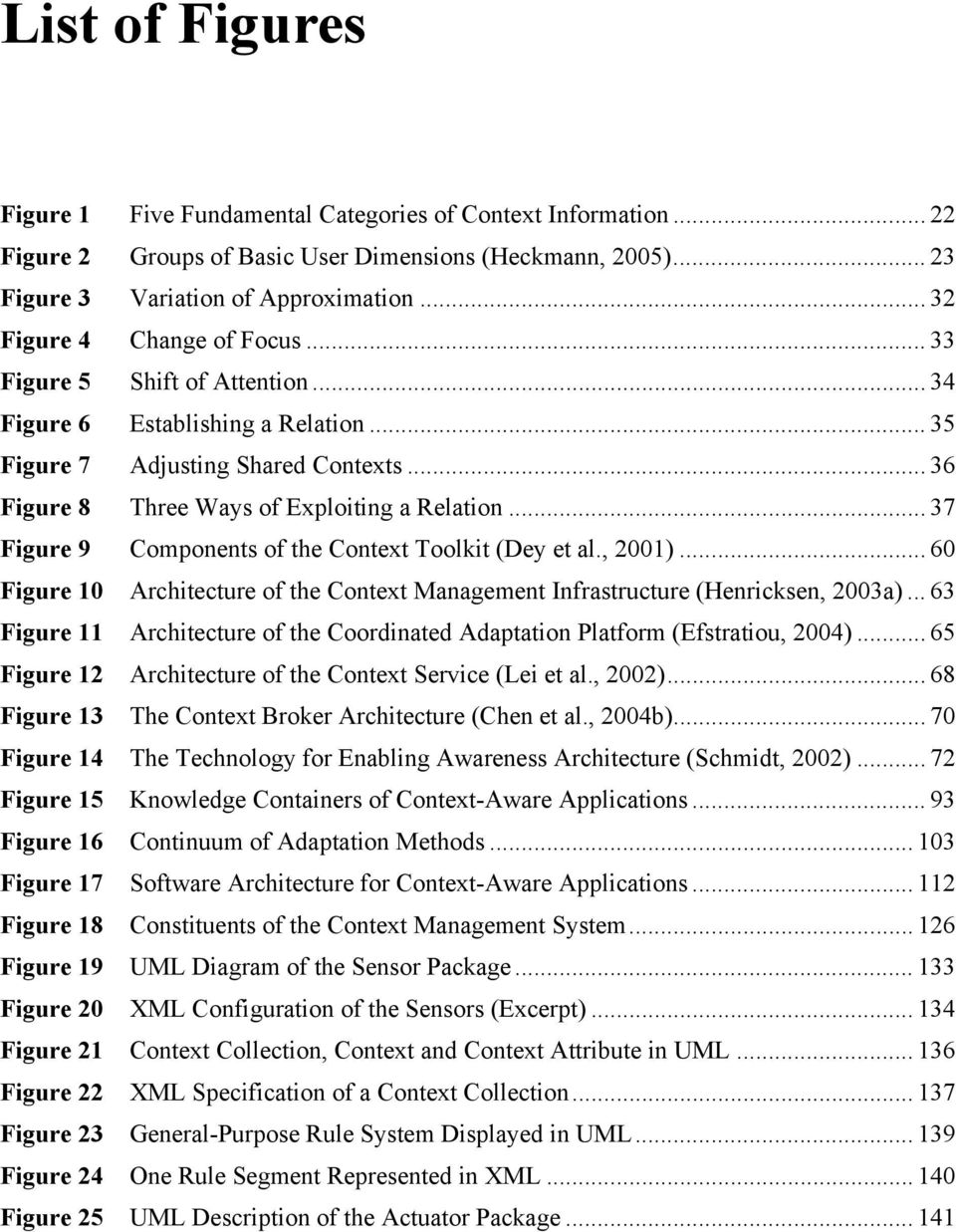 .. 37 Figure 9 Components of the Context Toolkit (Dey et al., 2001)... 60 Figure 10 Architecture of the Context Management Infrastructure (Henricksen, 2003a).
