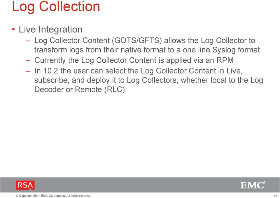 Collector Content is applied via an RPM In 10.