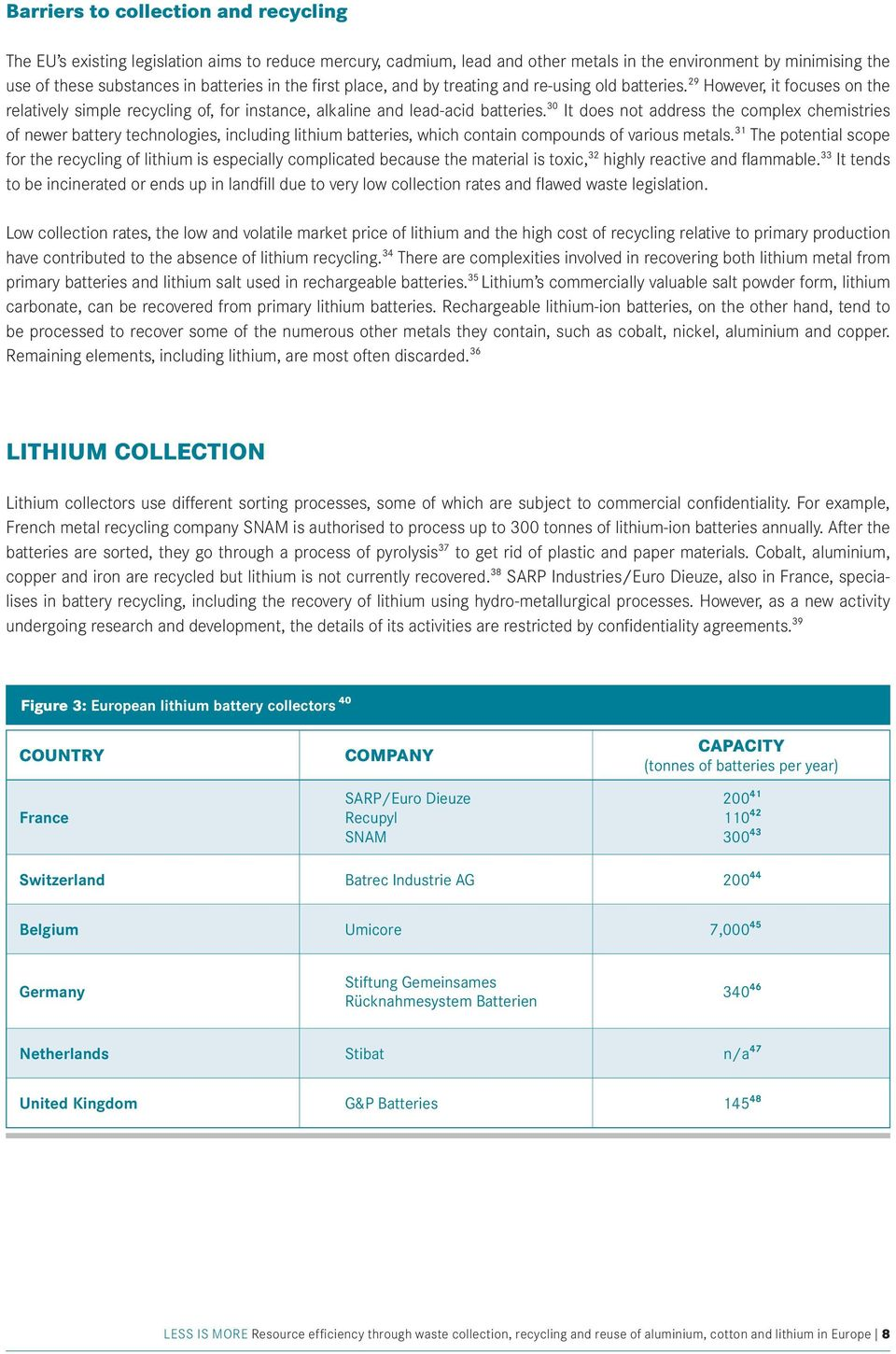 30 It does not address the complex chemistries of newer battery technologies, including lithium batteries, which contain compounds of various metals.
