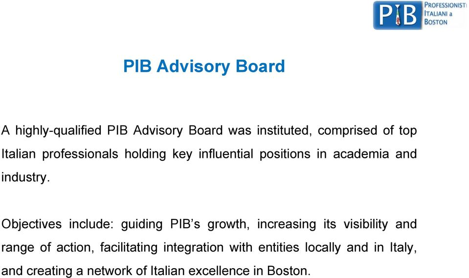 Objectives include: guiding PIB s growth, increasing its visibility and range of action,