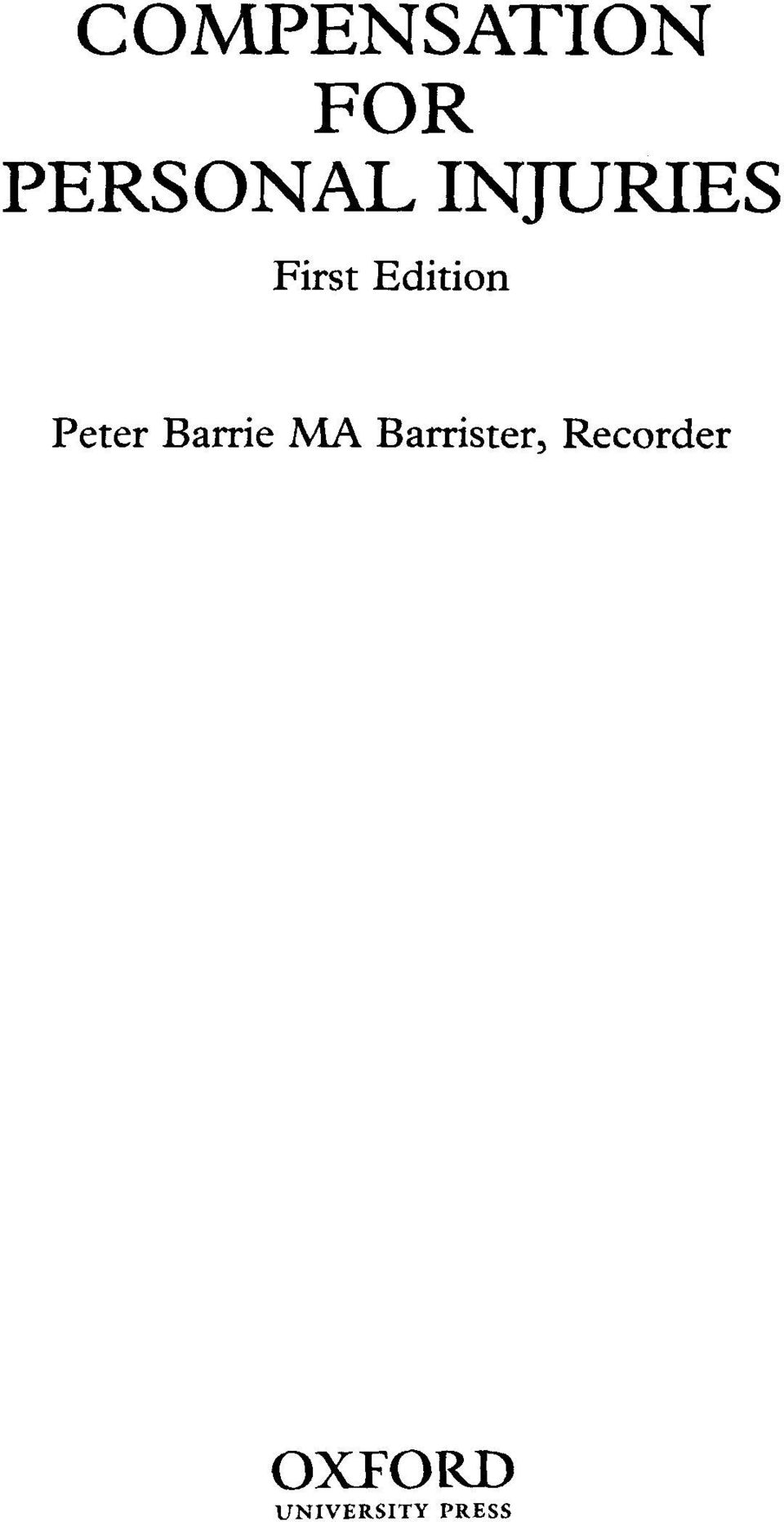 Peter Barrie MA Barrister,