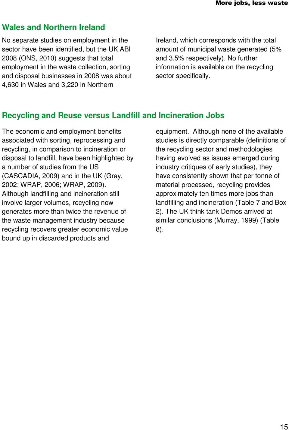 No further information is available on the recycling sector specifically.