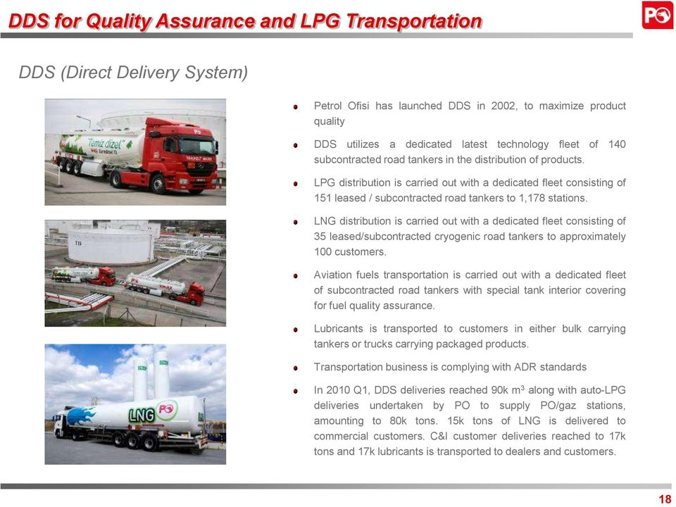 LNG distribution is carried out with a dedicated fleet consisting of 35 leased/subcontracted cryogenic road tankers to approximately 100 customers.