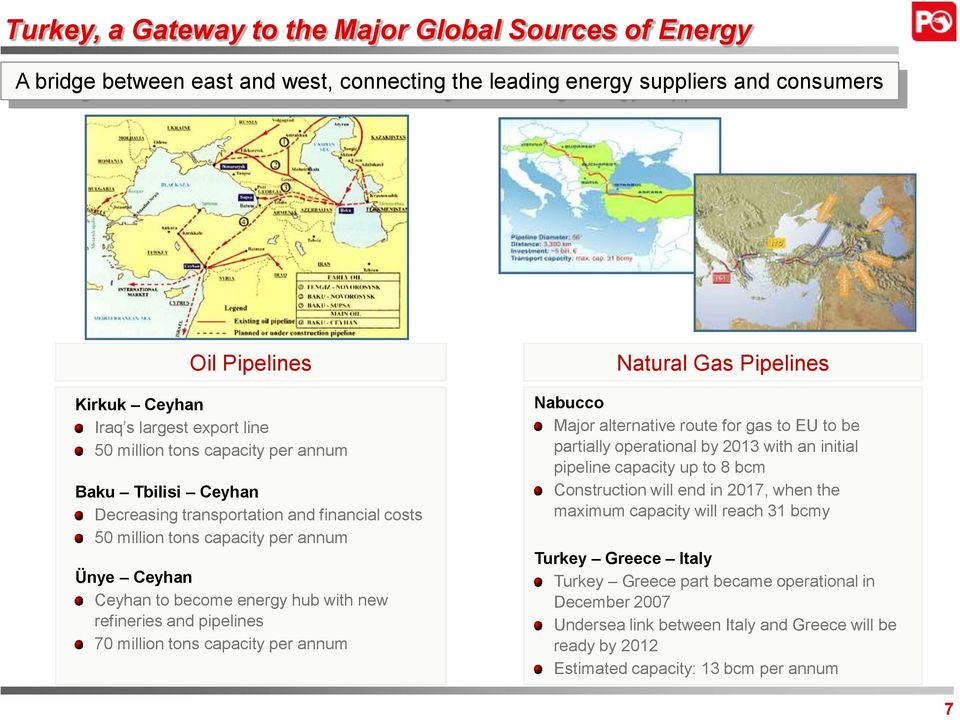 pipelines 70 million tons capacity per annum Natural Gas Pipelines Nabucco Major alternative route for gas to EU to be partially operational by 2013 with an initial pipeline capacity up to 8 bcm