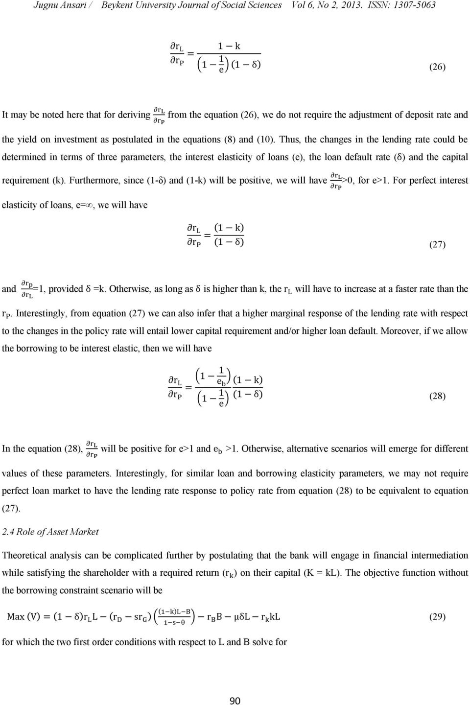 equations (8) and (10).