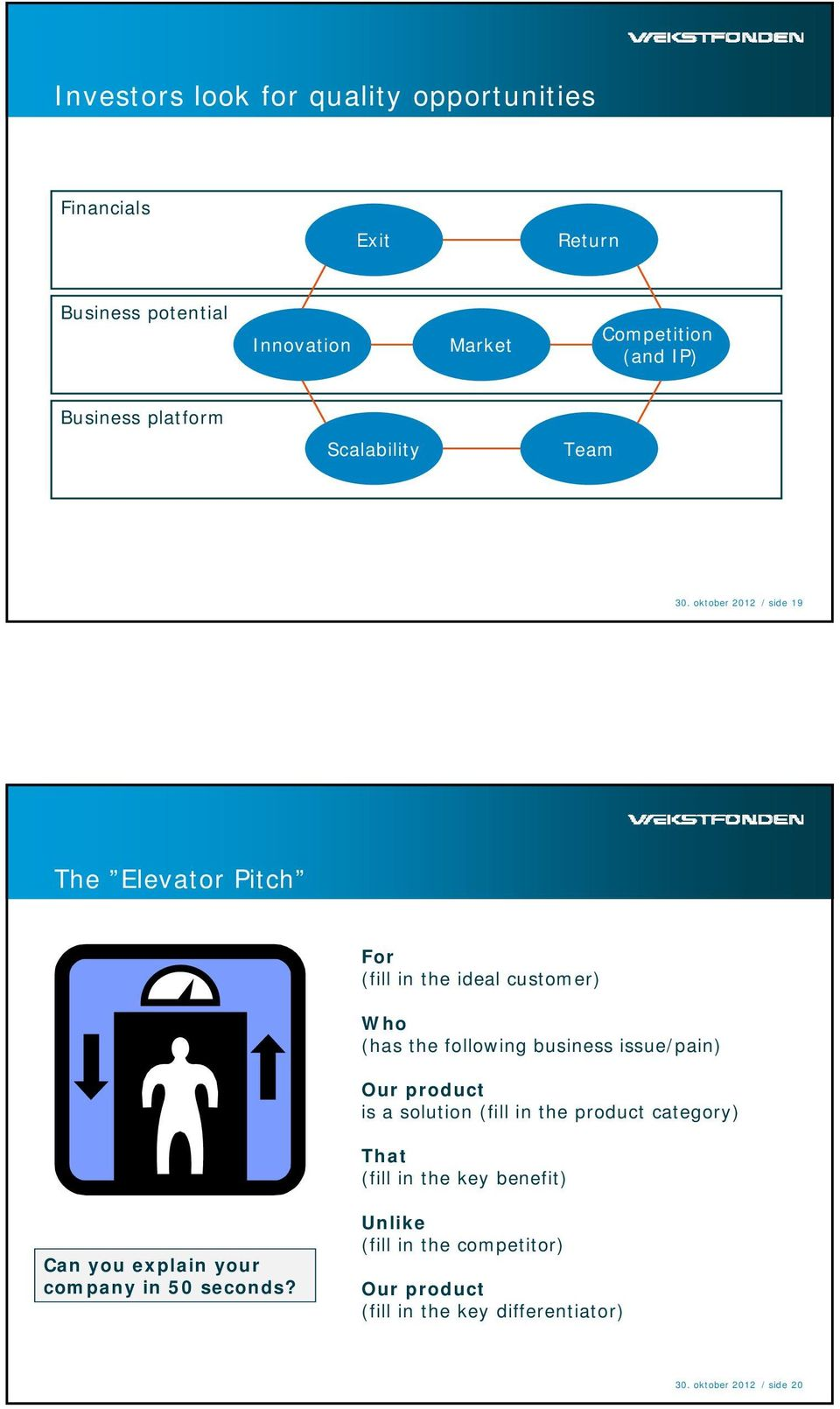 oktober 2012 / side 19 The Elevator Pitch For (fill in the ideal customer) Who (has the following business issue/pain) Our