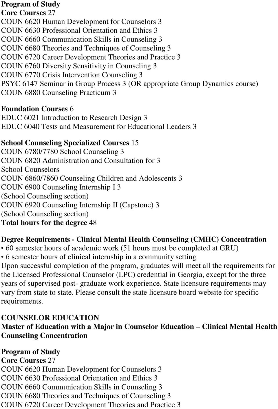 Process 3 (OR appropriate Group Dynamics course) COUN 6880 Counseling Practicum 3 Foundation Courses 6 EDUC 6021 Introduction to Research Design 3 EDUC 6040 Tests and Measurement for Educational