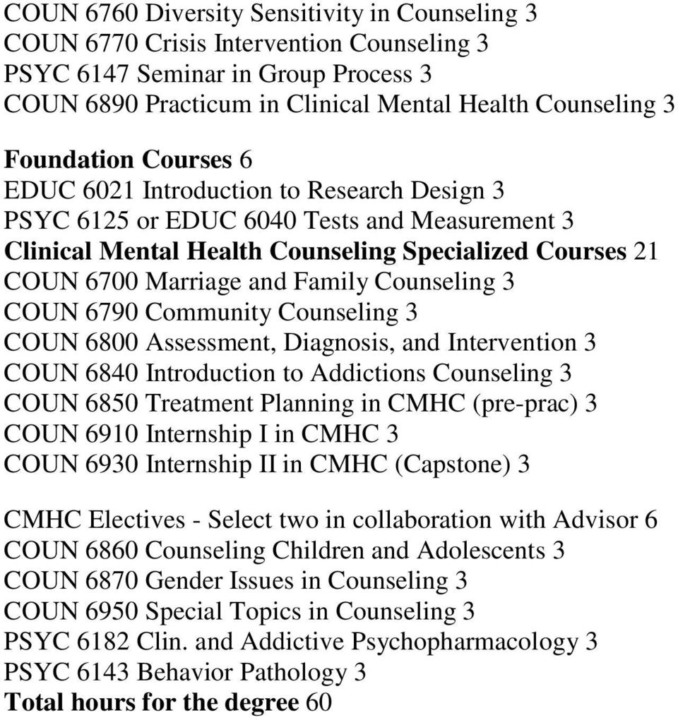 3 COUN 6790 Community Counseling 3 COUN 6800 Assessment, Diagnosis, and Intervention 3 COUN 6840 Introduction to Addictions Counseling 3 COUN 6850 Treatment Planning in CMHC (pre-prac) 3 COUN 6910