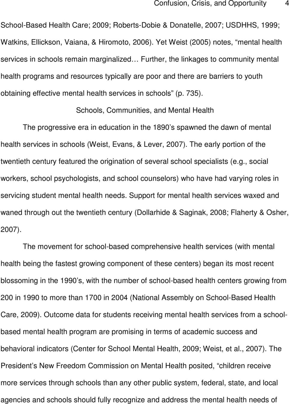 youth obtaining effective mental health services in schools (p. 735).