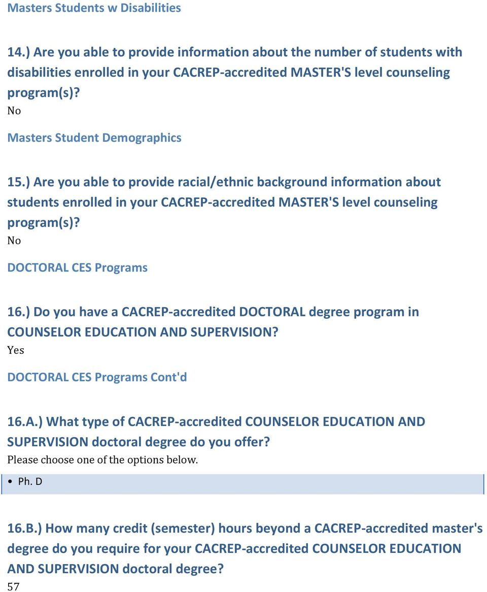 DOCTORAL CES Programs 6.) Do you have a CACREP-accredited DOCTORAL degree program in COUNSELOR EDUCATION AND SUPERVISION? DOCTORAL CES Programs Cont'd 6.A.) What type of CACREP-accredited COUNSELOR EDUCATION AND SUPERVISION doctoral degree do you offer?