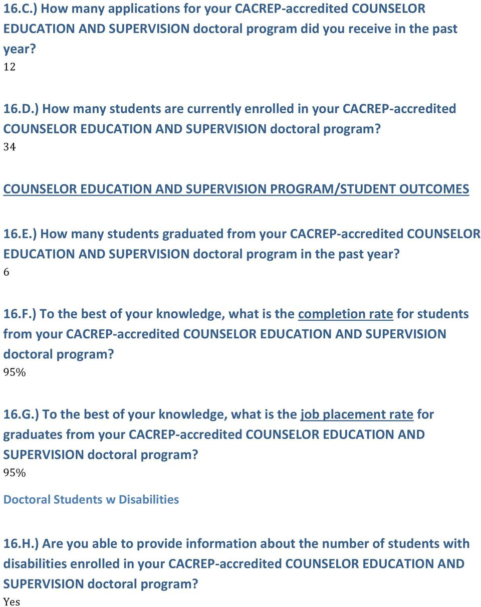 6 6.F.) To the best of your knowledge, what is the completion rate for students from your CACREP-accredited COUNSELOR EDUCATION AND SUPERVISION doctoral program? 95% 6.G.