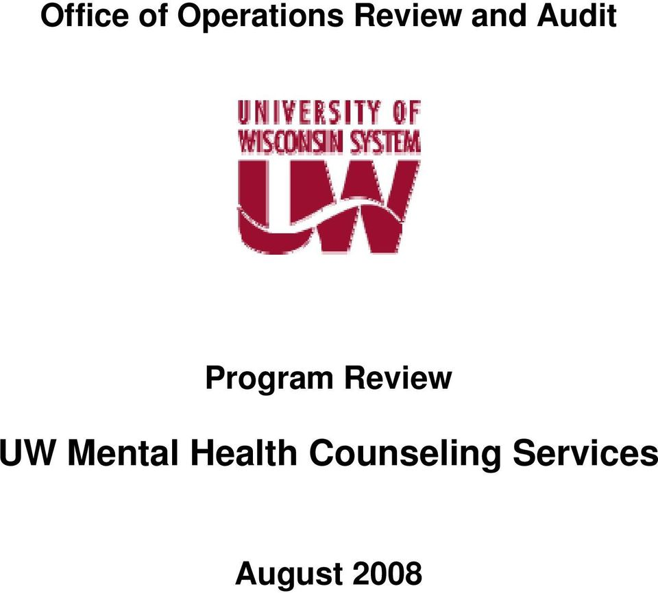 Review UW Mental Health