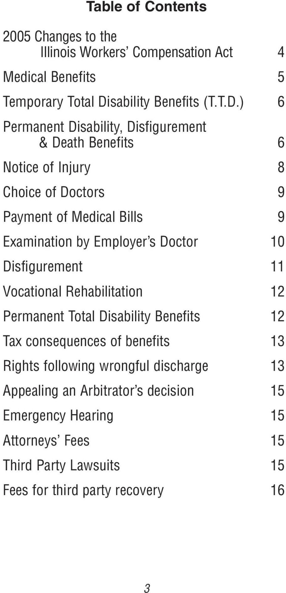 ) 6 Permanent Disability, Disfigurement & Death Benefits 6 Notice of Injury 8 Choice of Doctors 9 Payment of Medical Bills 9 Examination by