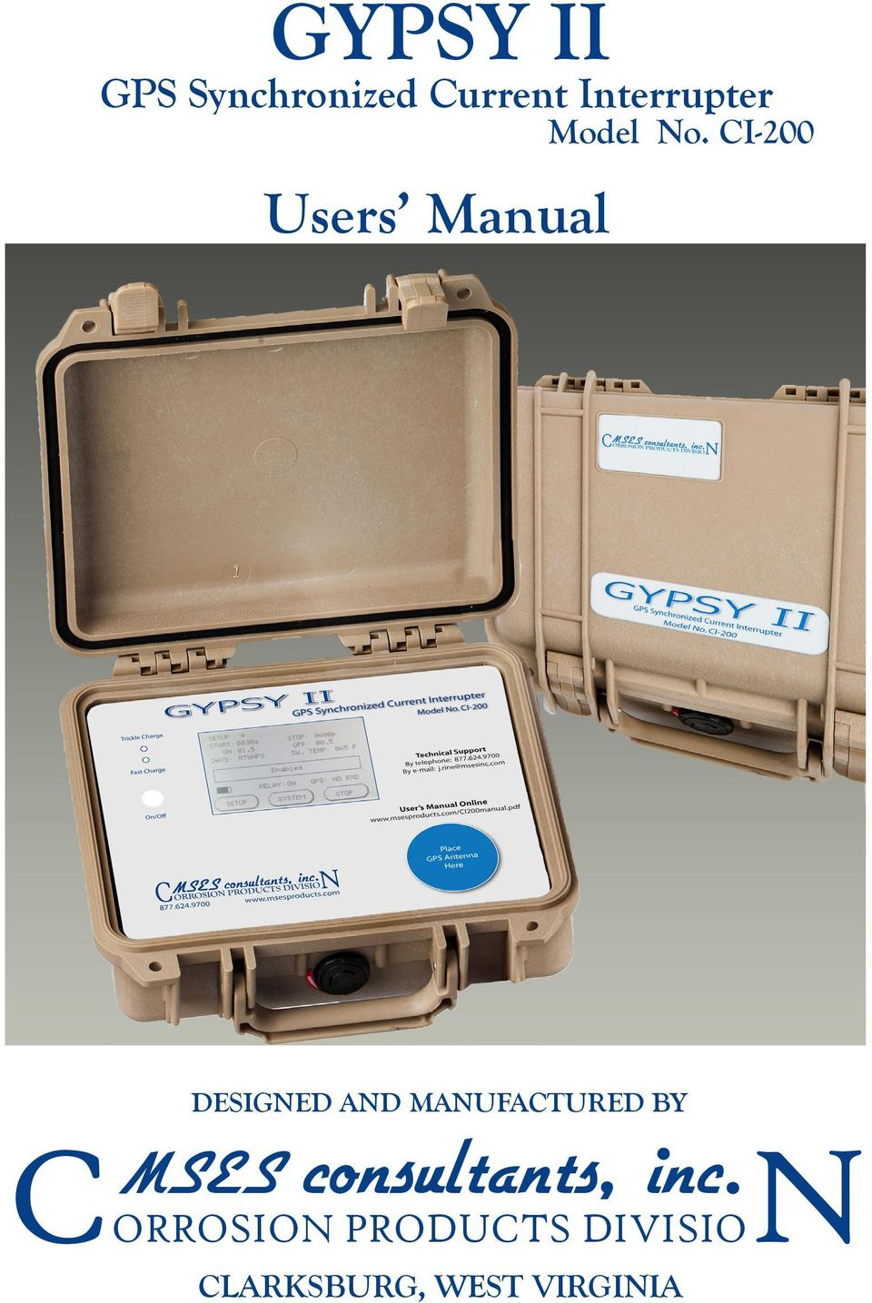 CI-200 Users Manual DESIGNED AND MANUFACTURED