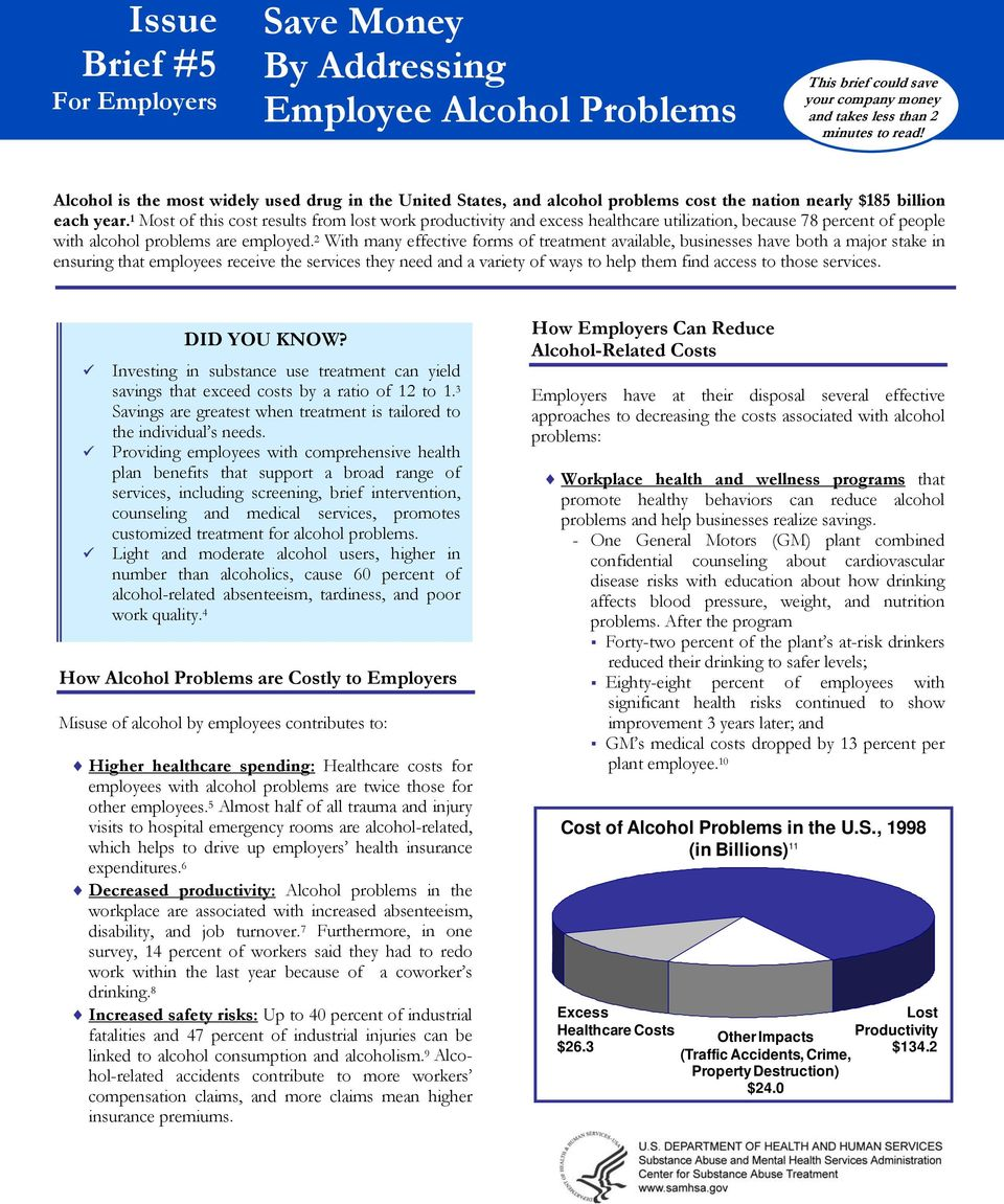 1 Most of this cost results from lost work productivity and excess healthcare utilization, because 78 percent of people with alcohol problems are employed.
