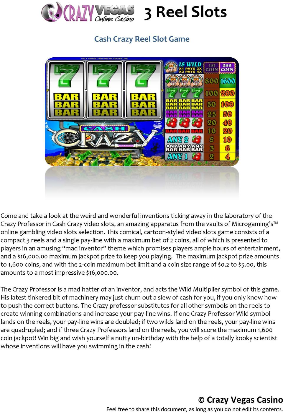 This comical, cartoon-styled video slots game consists of a compact 3 reels and a single pay-line with a maximum bet of 2 coins, all of which is presented to players in an amusing mad inventor theme