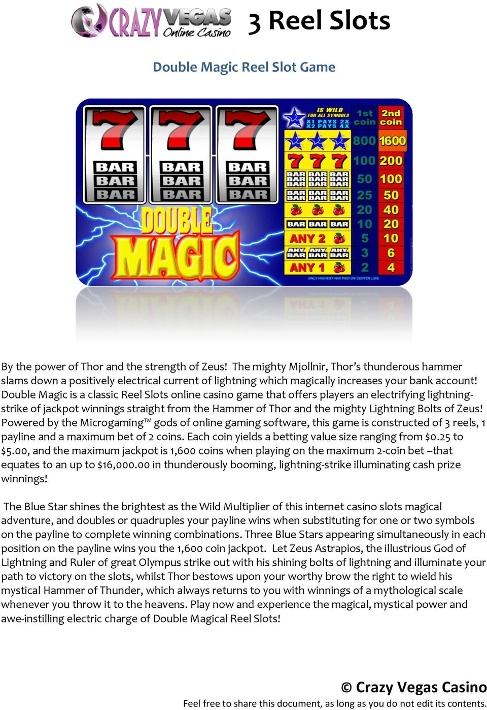 Double Magic is a classic Reel Slots online casino game that offers players an electrifying lightningstrike of jackpot winnings straight from the Hammer of Thor and the mighty Lightning Bolts of Zeus!