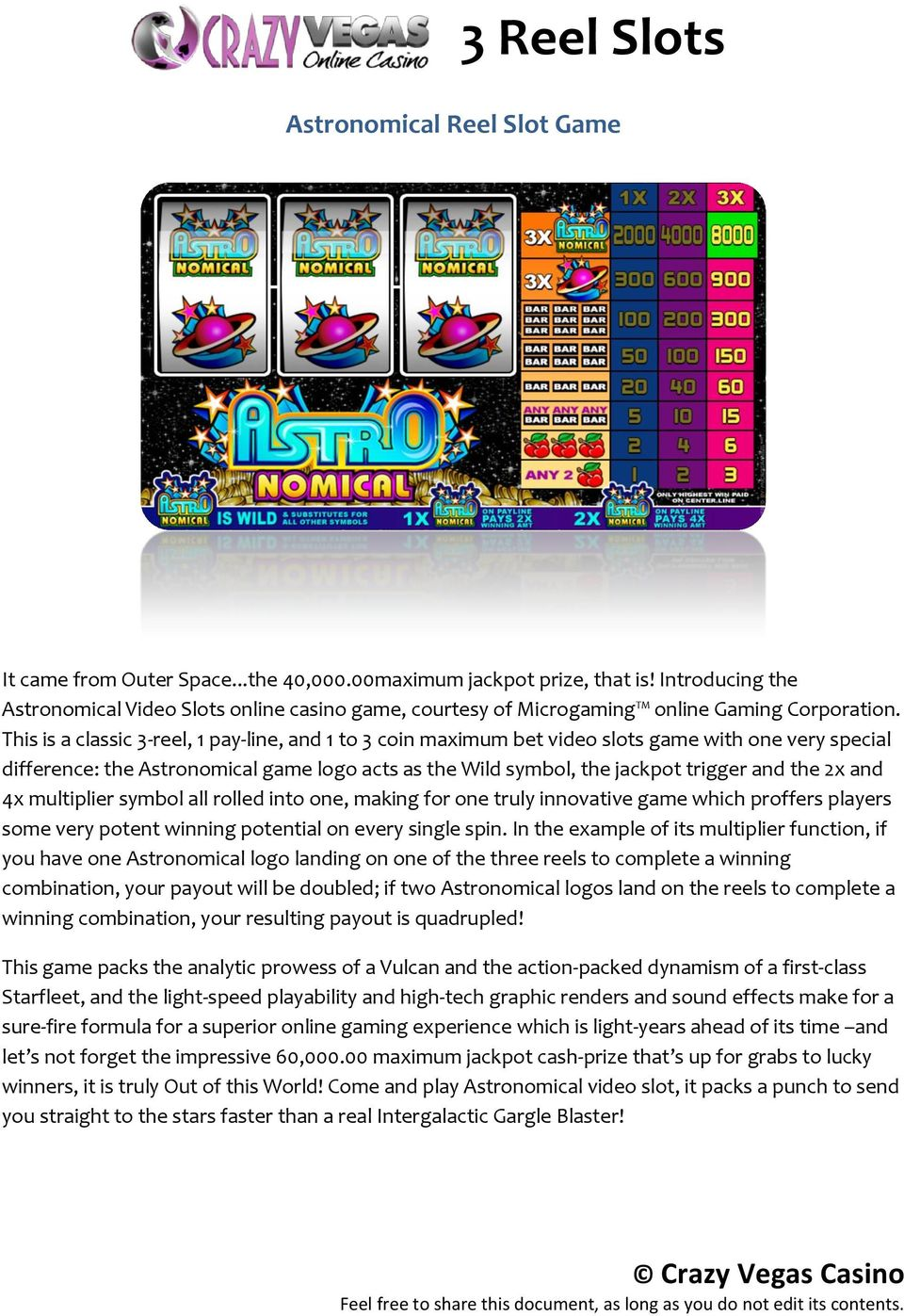 This is a classic 3-reel, 1 pay-line, and 1 to 3 coin maximum bet video slots game with one very special difference: the Astronomical game logo acts as the Wild symbol, the jackpot trigger and the 2x