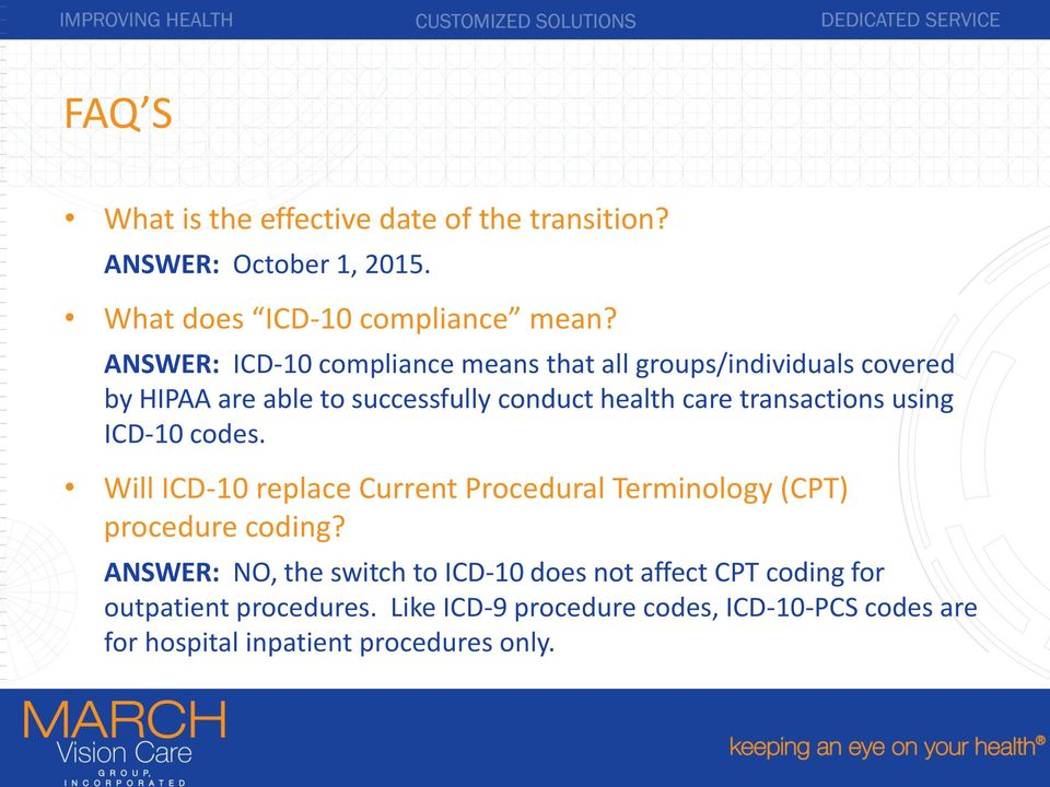 transactions using ICD-10 codes. Will ICD-10 replace Current Procedural Terminology (CPT) procedure coding?