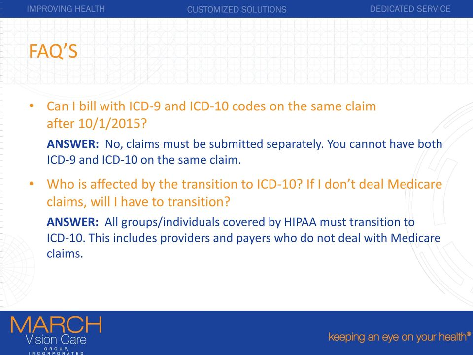 Who is affected by the transition to ICD-10? If I don t deal Medicare claims, will I have to transition?