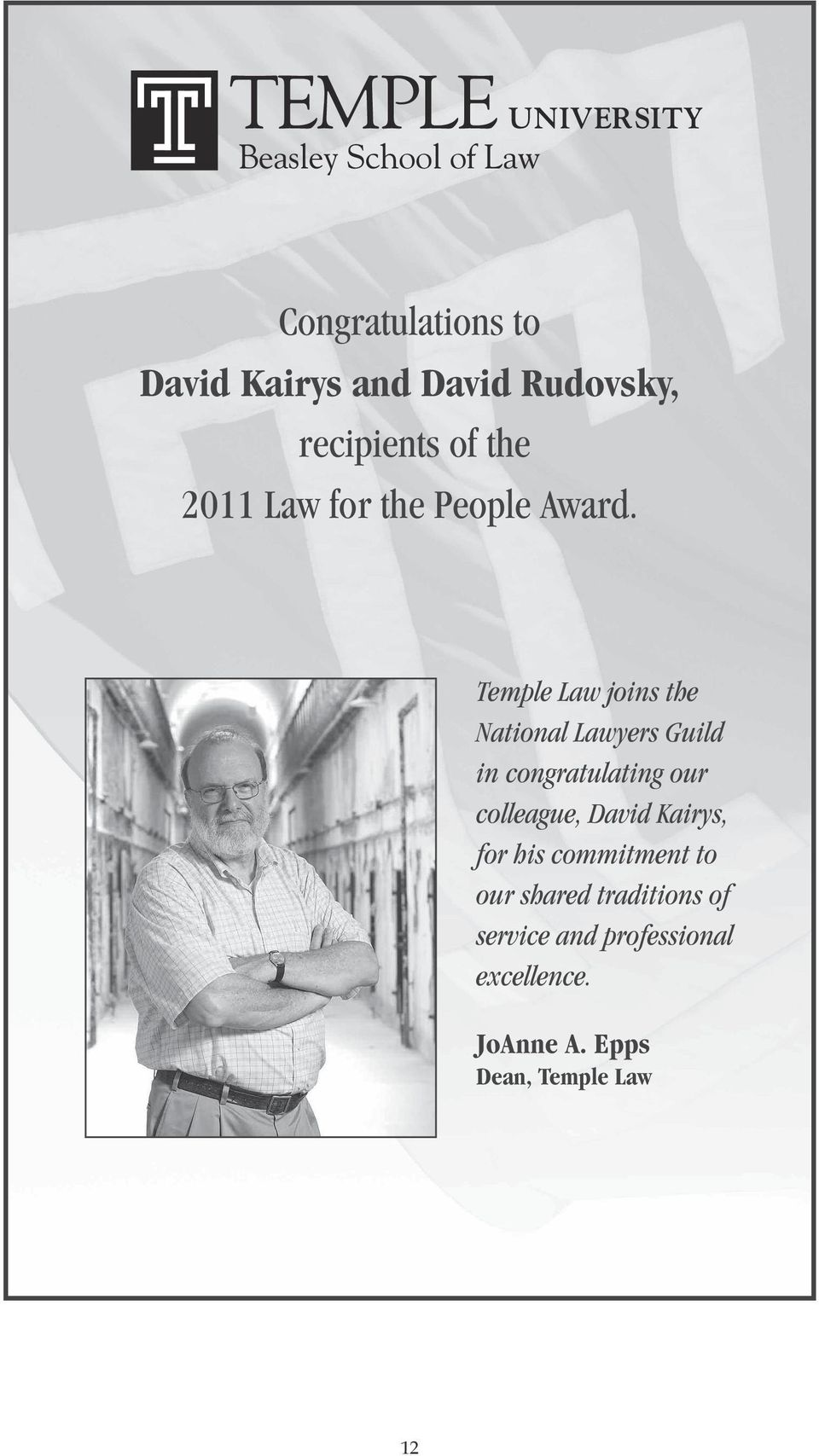 Temple Law joins the National Lawyers Guild in congratulating our colleague, David