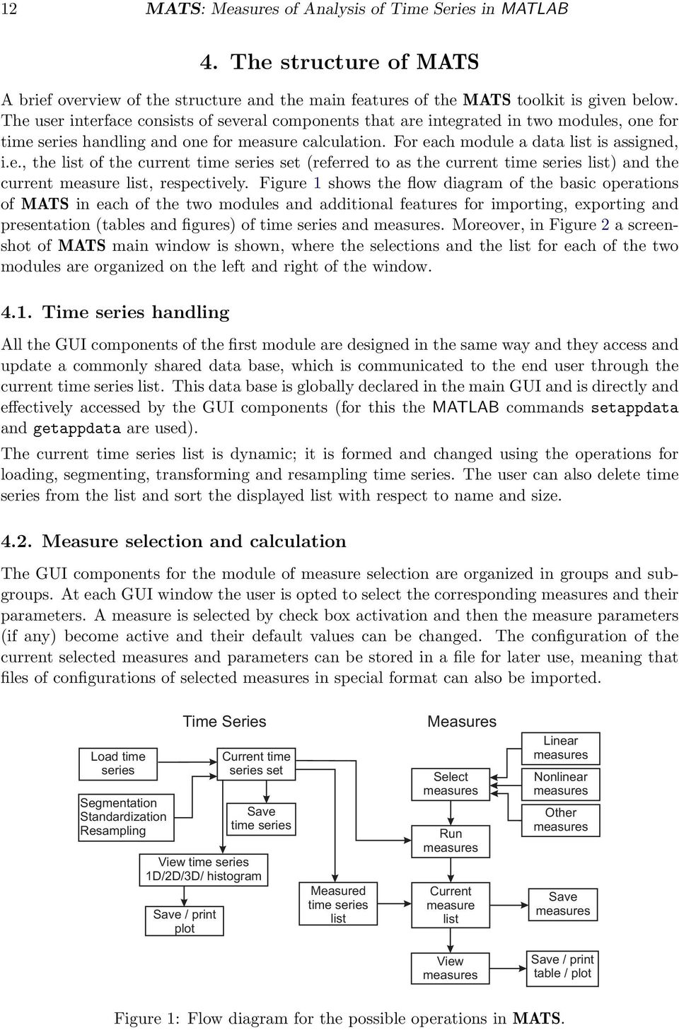 Figure 1 shows the flow diagram of the basic operations of MATS in each of the two modules and additional features for importing, exporting and presentation (tables and figures) of time series and