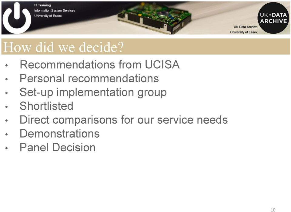 recommendations Set-up implementation group