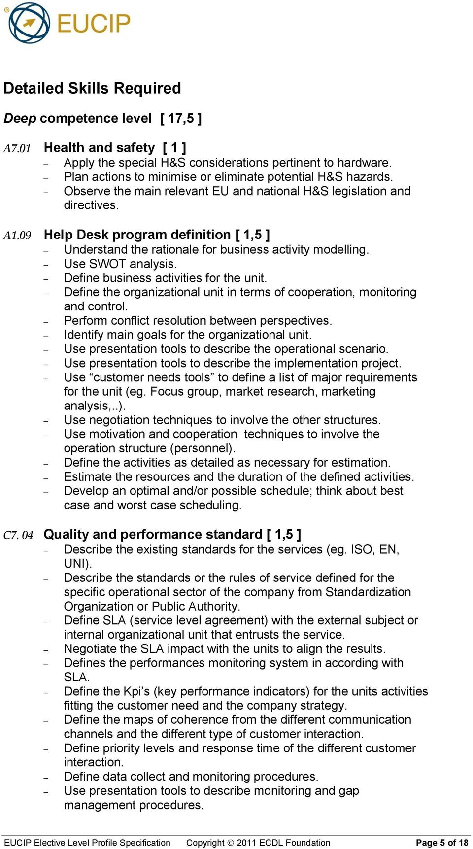 09 Help Desk program definition [ 1,5 ] Understand the rationale for business activity modelling. Use SWOT analysis. Define business activities for the unit.