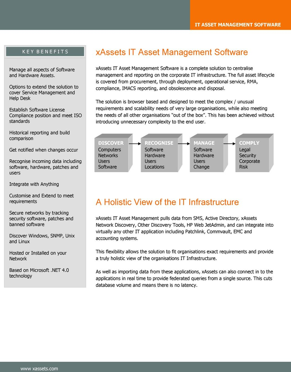 Management Software is a complete solution to centralise management and reporting on the corporate IT infrastructure.