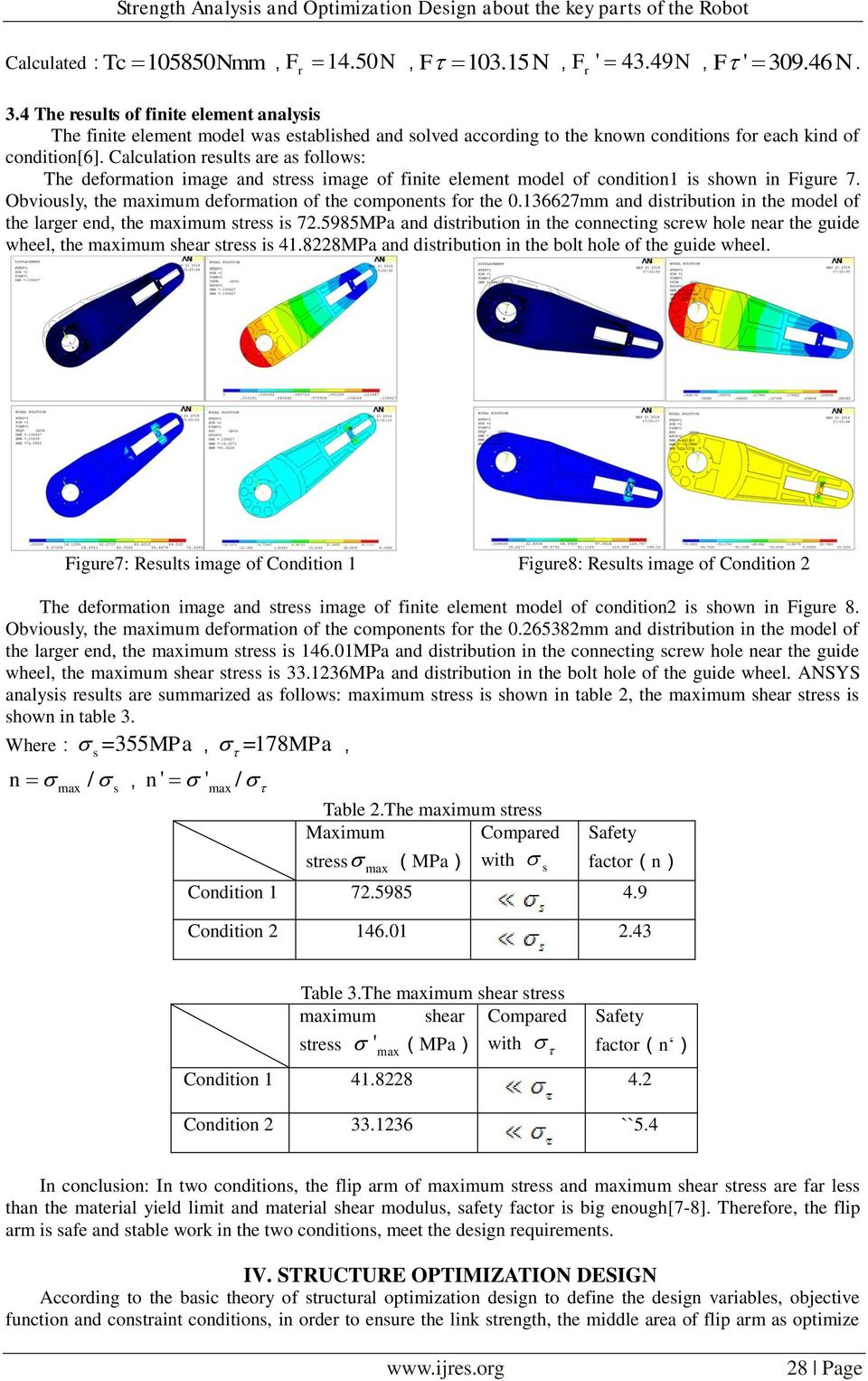 Calculation esults ae as follows: The defomation image and stess image of finite element model of condition1 is shown in Figue 7. Obviously, the imum defomation of the components fo the 0.