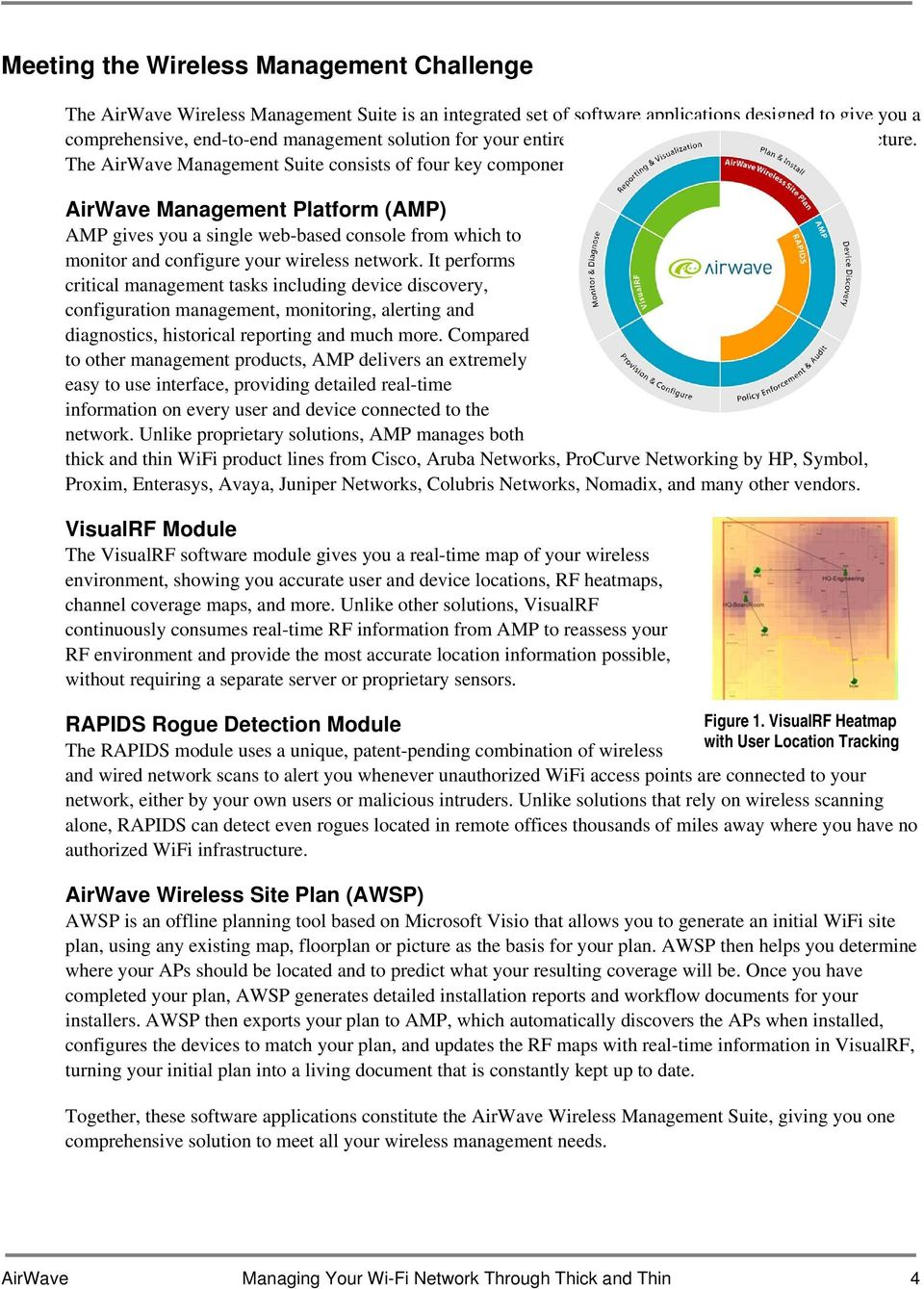 The AirWave Management Suite consists of four key components: AirWave Management Platform (AMP) AMP gives you a single web-based console from which to monitor and configure your wireless network.