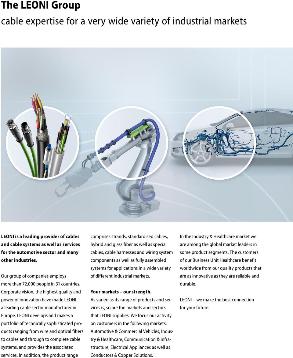 Cables and system solutions for medical technology Business Unit ...