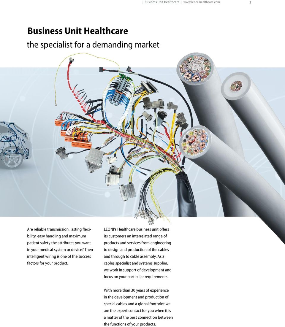 Cables and system solutions for medical technology Business