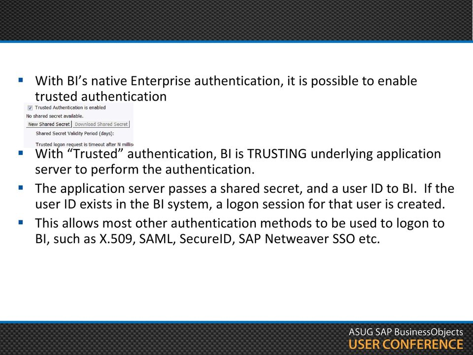 The application server passes a shared secret, and a user ID to BI.