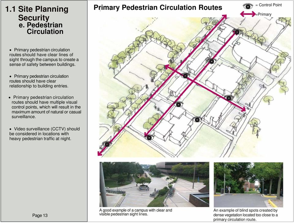 between buildings. Primary pedestrian circulation routes should have clear relationship to building entries.