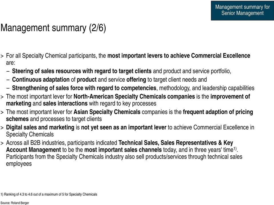 competencies, methodology, and leadership capabilities > The most important lever for North-American Specialty Chemicals companies is the improvement of marketing and sales interactions with regard