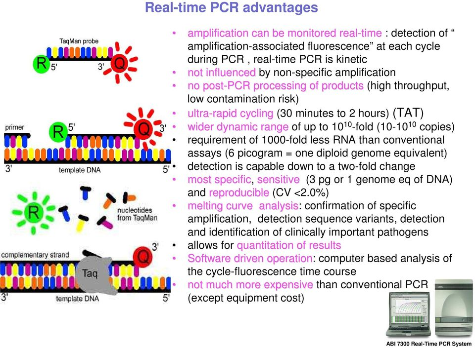-fold (10-10 10 copies) requirement of 1000-fold less RNA than conventional assays (6 picogram = one diploid genome equivalent) detection is capable down to a two-fold change most specific, sensitive