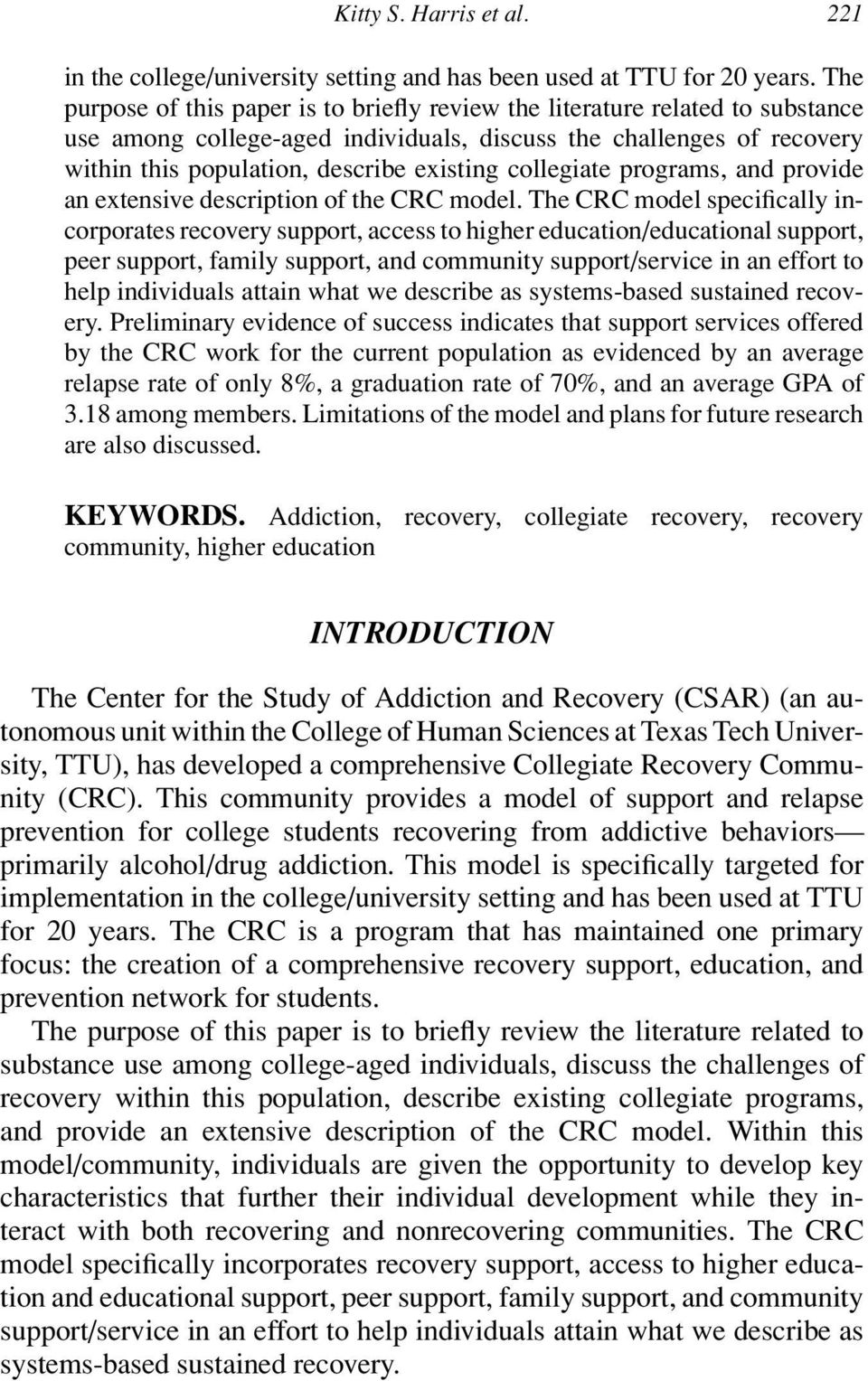 collegiate programs, and provide an extensive description of the CRC model.
