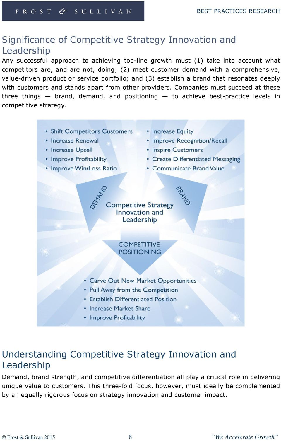 Companies must succeed at these three things brand, demand, and positioning to achieve best-practice levels in competitive strategy.