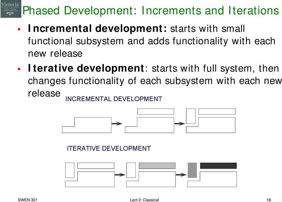 new release Iterative development: starts with full system, then changes