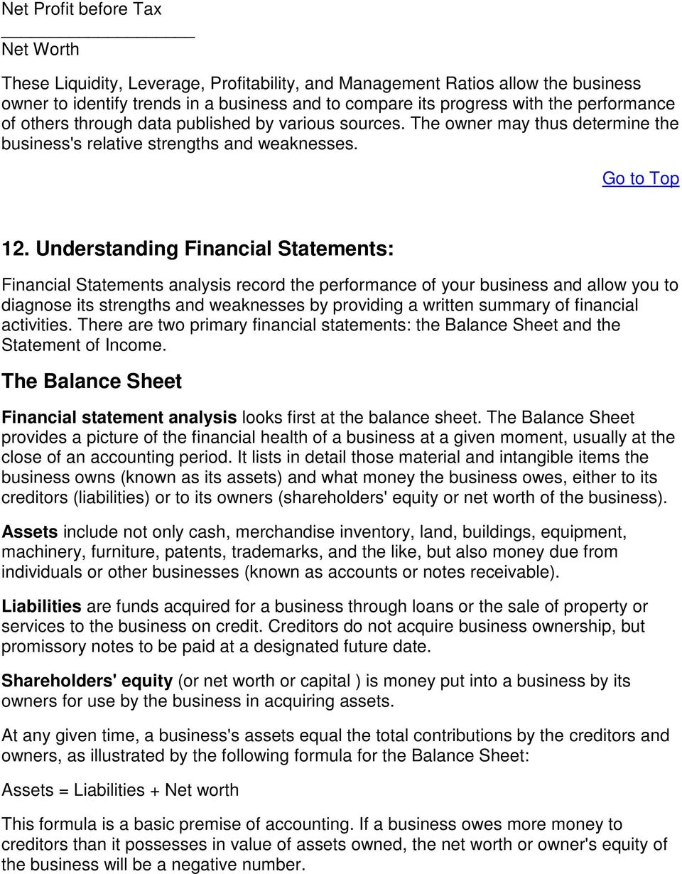 Understanding Financial Statements: Financial Statements analysis record the performance of your business and allow you to diagnose its strengths and weaknesses by providing a written summary of