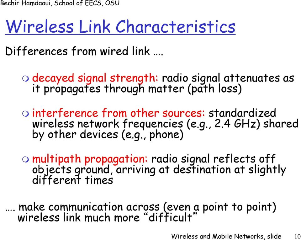 standardized wireless network frequencies (e.g.