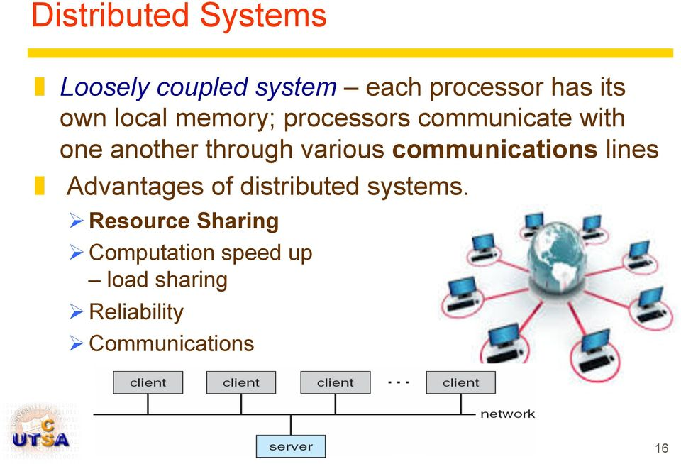 communications lines Advantages of distributed systems.