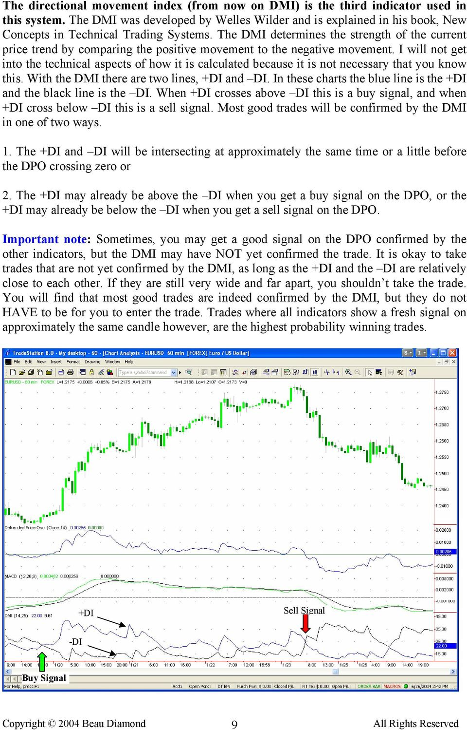 The DMI determines the strength of the current price trend by comparing the positive movement to the negative movement.
