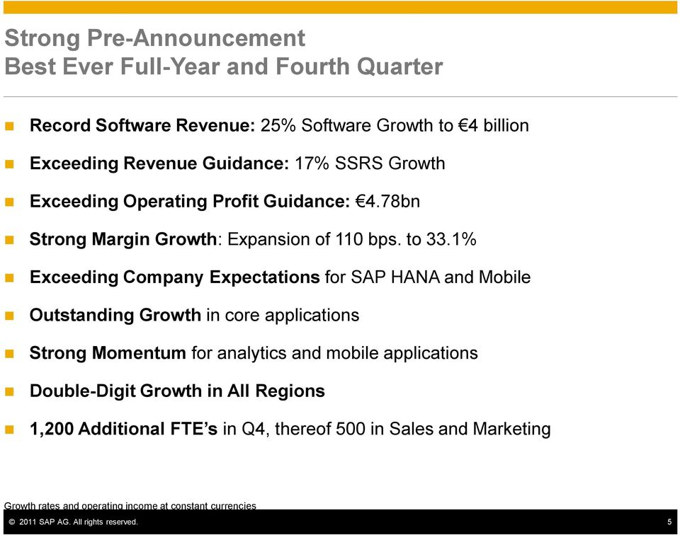 1% Exceeding Company Expectations for SAP HANA and Mobile Outstanding Growth in core applications Strong Momentum for analytics and mobile