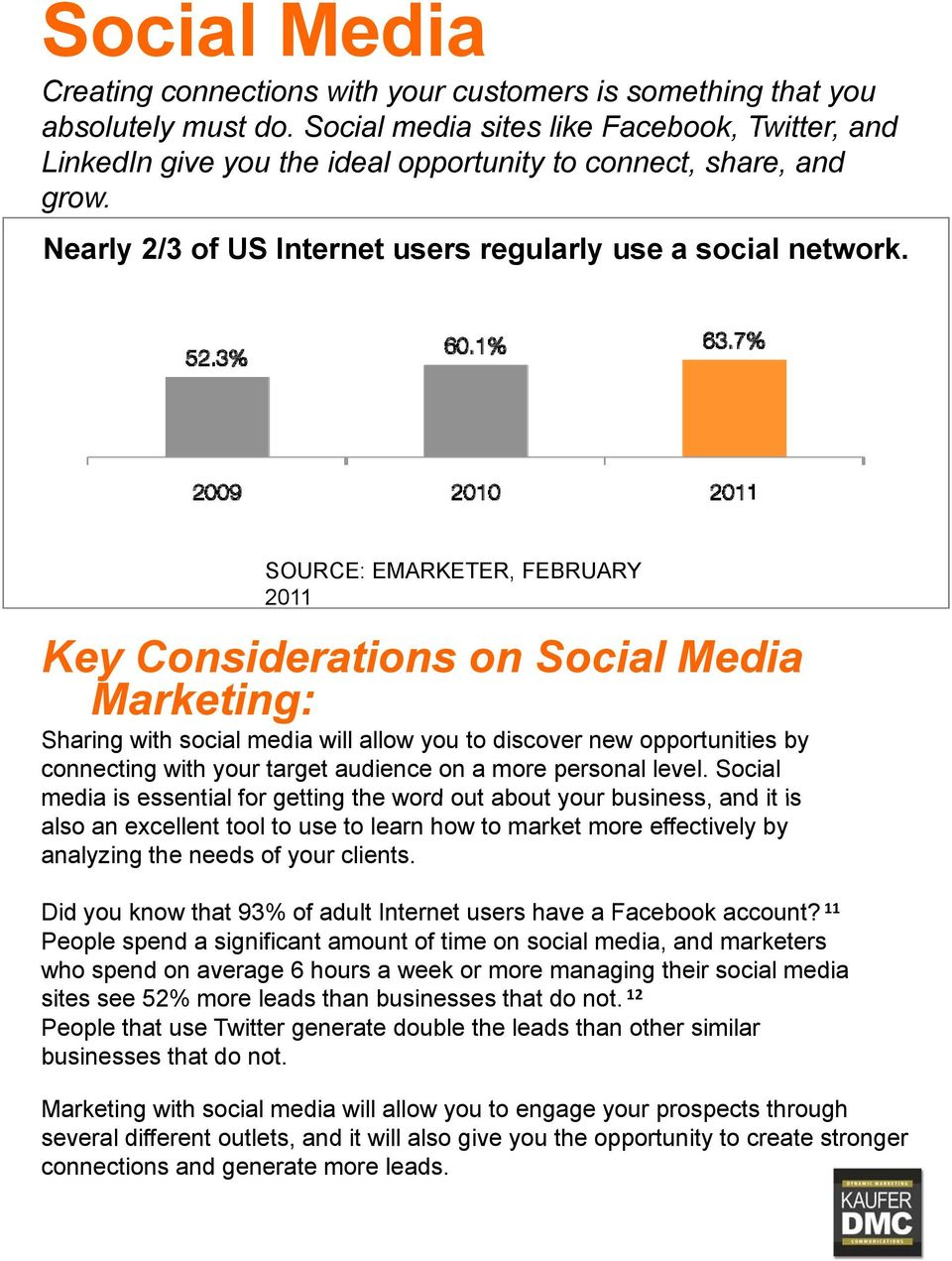 SOURCE: EMARKETER, FEBRUARY 2011 Key Considerations on Social Media Marketing: Sharing with social media will allow you to discover new opportunities by connecting with your target audience on a more
