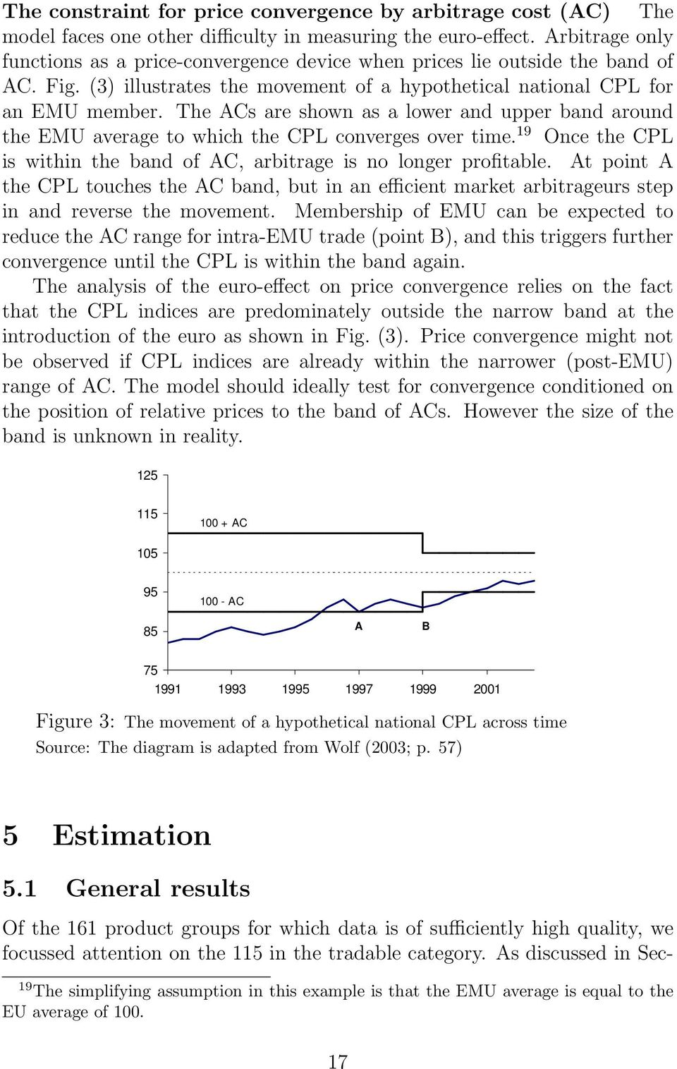 The ACs are shown as a lower and upper band around the EMU average to which the CPL converges over time. 19 Once the CPL is within the band of AC, arbitrage is no longer profitable.