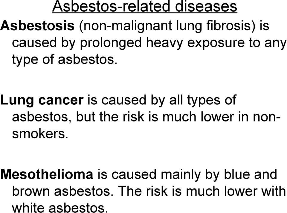 Lung cancer is caused by all types of asbestos, but the risk is much lower in