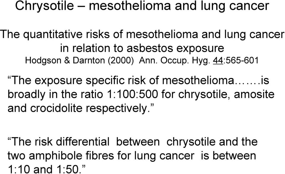 44:565-601 The exposure specific risk of mesothelioma.
